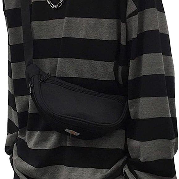 Grey Long Sleeves Crewneck T-Shirt Tee Tops AD